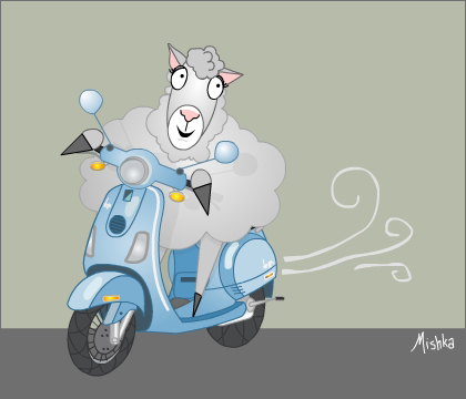 Sheep gets a scooter.