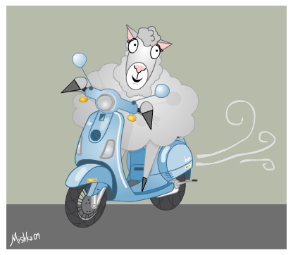 sheep gets a scooter