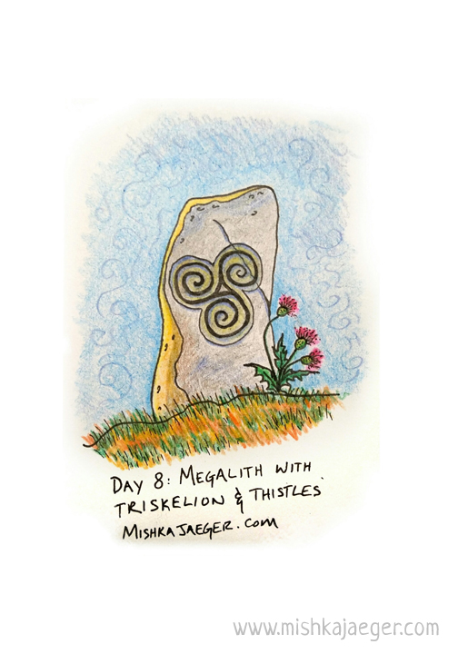 Megalith With Triskelion and Thistles